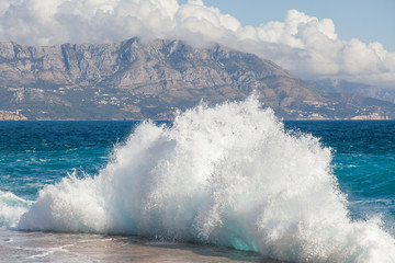 Storm waves on the Ploce beach, coast of Montenegro.