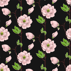 Seamless spring pattern with pink magnolias and green leaves. Delicate flowers in botanical motifs.