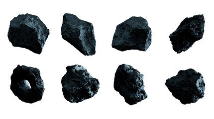 Dark rock asteroid pack 3D rendering