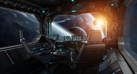 Wall Mural - Spaceship grunge interior with view on exoplanet