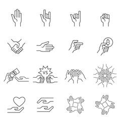 hand icon line vector
