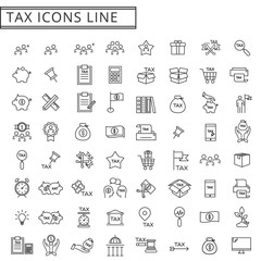 tax icons line set vector illustration