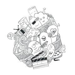 Vector illustration of artoon monsters. Cinema 3d. Vector illustration of friendly, cool, cute hand-drawn monsters.
