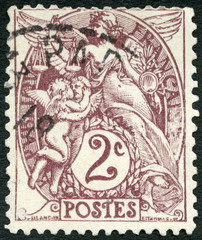 FRANCE - 1877: shows emblem of Liberty, Equality, Fraternity