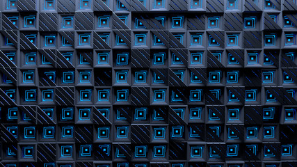Geometric seamless pattern with squares and striped triangles. Tiled modern dark squares mesh with blue glow inside. Futuristic abstract blue technology background. Sci-fi wall panel. 3d rendering.