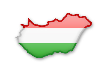Hungary flag and contour of the country.