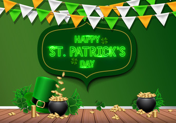 St. Patrick's Day Poster. Happy Saint Patrick's Day Party Poster. Festive Composition with Beer Glass, Golden Coins, Hat and Clover Leaves. Vector Illustration. Invitation to nightclub.