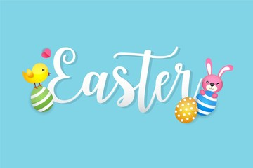 Easter Bunny and Egg Vector Vector Illustration Blue Background