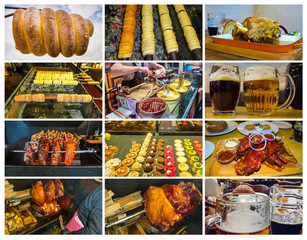 The collage about traditional Czech street food - trdelnik