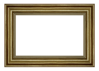 Black vintage wood picture frame isolated on white background