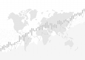 Candle stick graph chart in financial market with world map, Forex trading graphic concept, vector