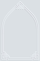 Islamic white grey frame ornament pattern background