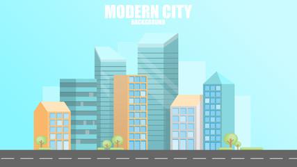 Urban modern city background, vector illustration