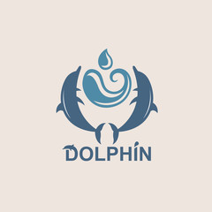 abstract emblem of jumping dolphin and sea wave