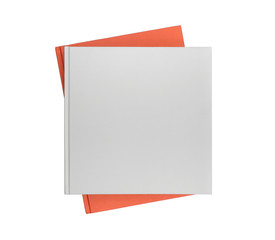 Blank cover gray book and orange book on white background