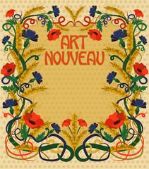 Wheaten wallpaper in art nouveau style, vector illustration