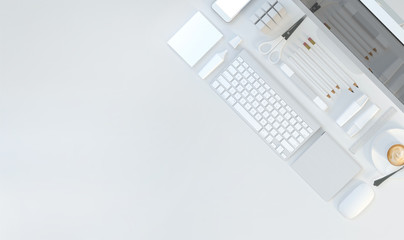 Modern workspace with computer and stationery set on white color background. Top view. Flat lay. 3D illustration