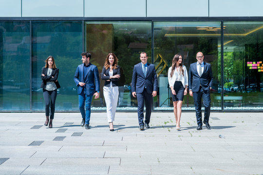 Portrait Of young successfull Business Team Outside Office.