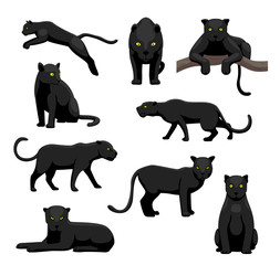 Black Panther Poses Cute Cartoon Vector Illustration