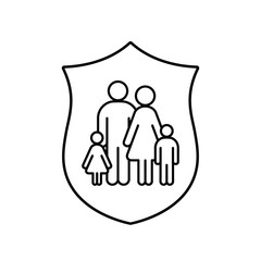 Family and shield line icon. Security and Insurence design, vector illustration