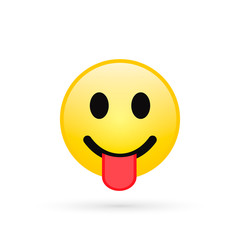 Smile Emoji isolated on white background, smiling face with stuck-out tongue, vector illustration