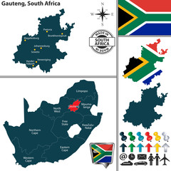 Map of Gauteng, South Africa