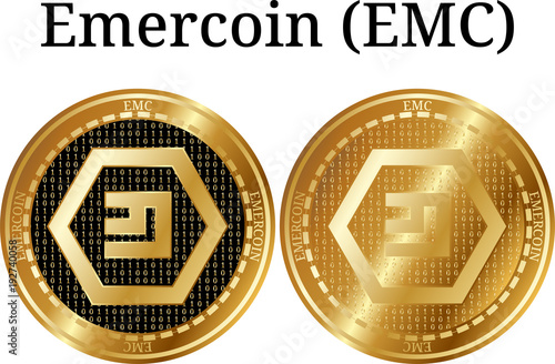 Set Of Physical Golden Coin Emercoin Emc Stock Image And Royalty