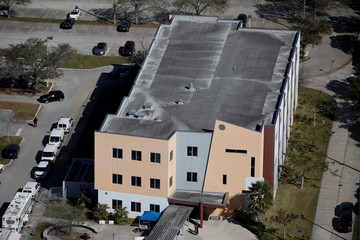 An aerial view shows Marjory Stoneman Douglas High School following a mass shooting in Parkland, Florida