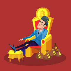 Rich Successful Businessman Sitting on Throne with Bitcoin and Money Stacks. Cryptocurrency Market Concept. Vector illustration