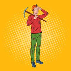 Pop Art Male Miner in Helmet with Pickaxe. Coal Industry Worker. Vector illustration