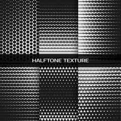 Set of abstract geometric black and white graphic design print halftone triangle pattern. Vector illustration
