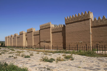 Restored ruins of ancient Babylon, Iraq. In front of  the wall is procession street which leads to the Ishtar gate.