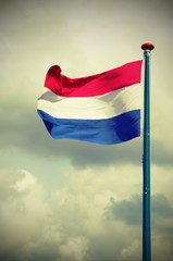 waving Dutch flag with white and blue red with vintage effect