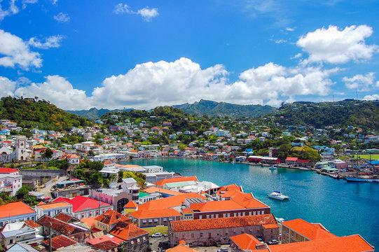 View of Saint George's town, capital of Grenada island, Caribbean region of Lesser Antilles