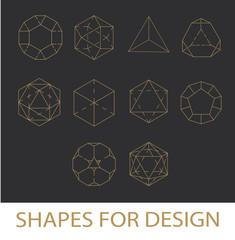 White Stroke Geometric Shapes Icons