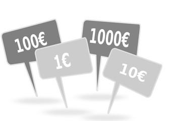 étiquettes de prix en euros