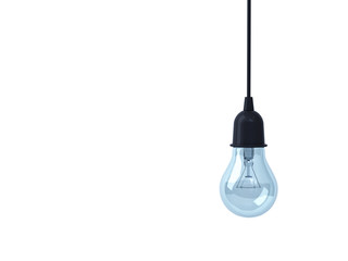 Hanging Light bulb isolated on white background . 3D rendering.