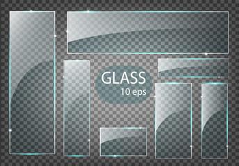 Vector modern transparent glass plates set on sample background. Wall mural