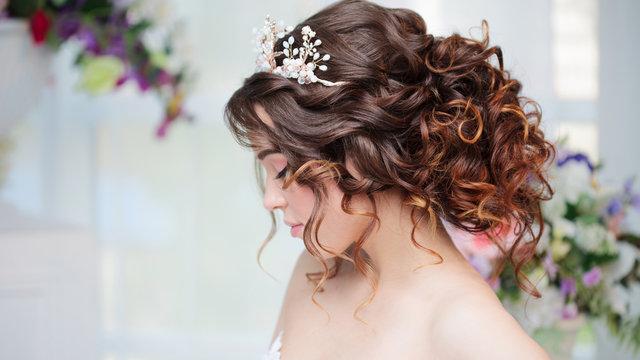 Portrait of beautiful bride in wedding dress