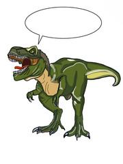 realistic dinosaur illustration cartoon speech bubble