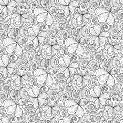 Monochrome Doodle St Patrick's Day Seamless Pattern. Decorative Clover Leaf Talisman, Abstract Coins and Swirl. Elegant Natural Background. Coloring Book Page. Vector Contour Illustration Ornate