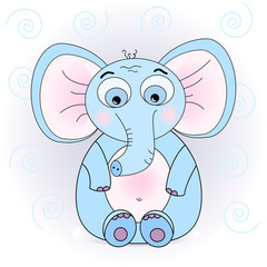 illustration of a cute elephant calf