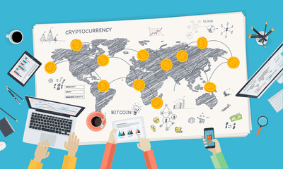 Bitcoin market. Flat design style web banner of blockchain technology, bitcoin, altcoins, cryptocurrency mining, finance, digital money market, cryptocoin wallet, crypto exchange.