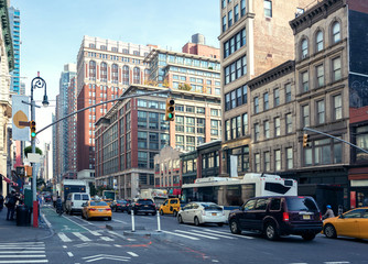 City Life and traffic on Manhattan avenue ( Ladies' Mile Historic District) at daylight , New York City, United States. Toned image. Wall mural