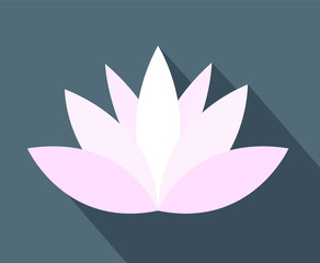 white and pink lotus or water lily flower vector icon simple flat on gray background with flat shadow