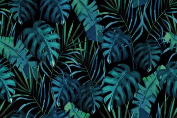Botanical exotic seamless pattern, green tropical leaves, summer vector illustration on black background