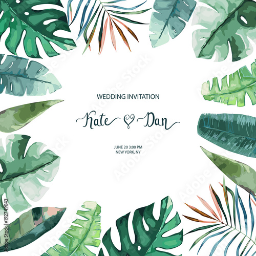 Exotic Tropical Palm Tree Frame Border Background Summer Vector