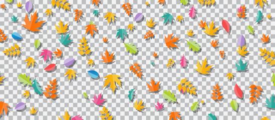 Set of multi-colored autumn leaves on transparent background. Vector Illustration.