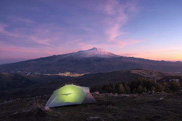 Fototapete - Illuminated Tent, Lights Town And Etna Volcano At Twilight, Sicily