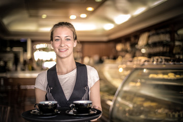 Serving coffee in the confectionery